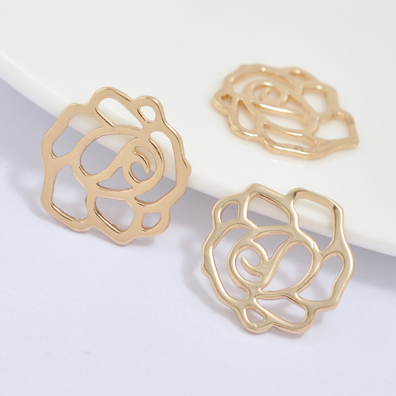 6PCS 16x15MM 24K Champagne Gold Color Plated Brass Rose Charms Pendants High Quality Diy Jewelry Accessories