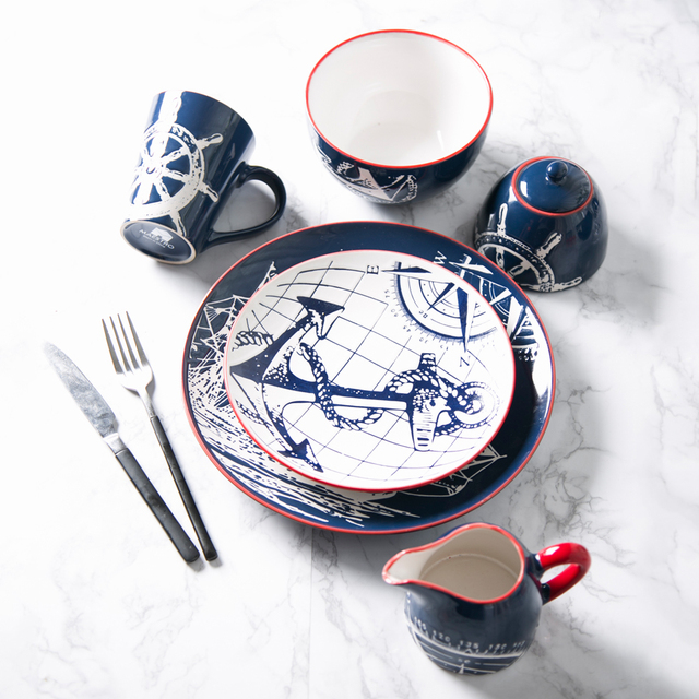 Creative Ceramic Tableware Plate Hand painted Blue Boat Dish Dishes ...