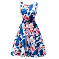 Hot Sale Summer Women Dresses 2017 Fashion O Neck Sleeveless Bandage Dresses Printing Vintage Women Large
