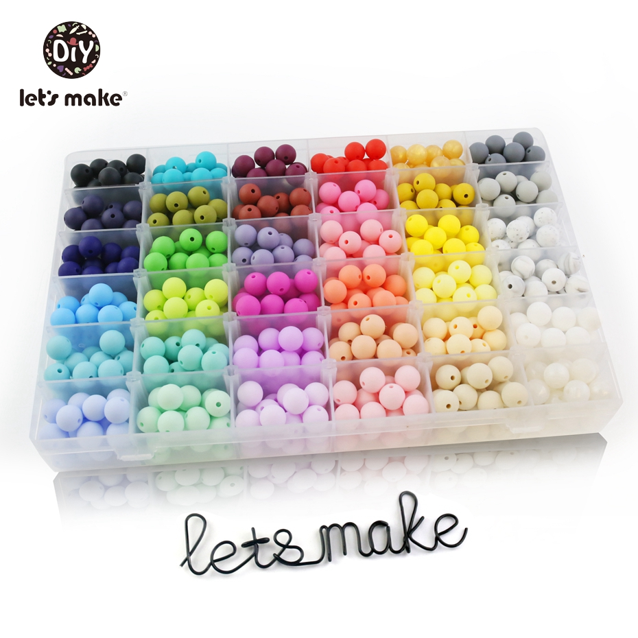 Teething Necklace Jewelry Silicone Beads Let's-Make Food-Grade Sensory Nursing DIY 50pcs
