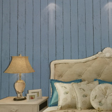Hot Mediterranean wood grain High-grade retro striped non-woven wallpaper Simple living room