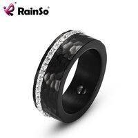 RainSo Female Hematite Health Ring Elegant Stainless Steel Bio Energy Healing Jewelry For Arthritis Shiny Rhinestones