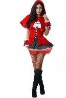 2015 Party Costume Little Red Riding Hood Clothing Halloween Sexy Women Costume Vetement Femme Ruffles Dress