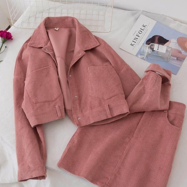 Mode femmes deux pièces ensemble dames velours côtelé veste manteau + jupe décontracté femmes ensemble printemps automne jupe courte + Outwear en vrac 2 pièces costume