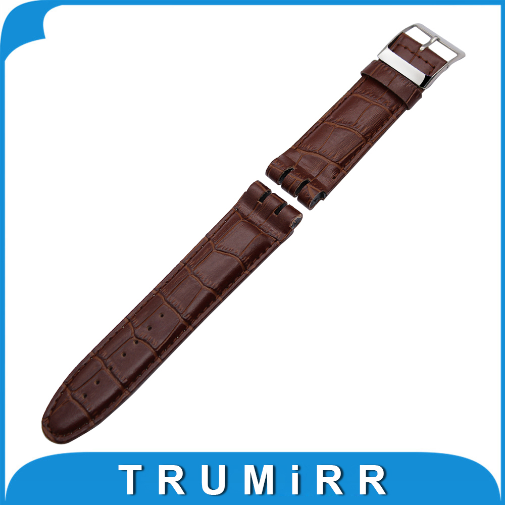 23mm Top Layer Calf Genuine Leather Watchband for Swatch YOS440 449 401G 447 448 Watch Band Croco Pattern Strap Wrist Bracelet high quality 17mm 19mm 23mm waterproof genuine leather watch strap band for swatch croco pattern black brown white