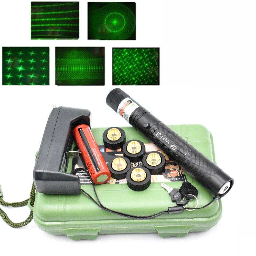 Vert Laser pointeur vue Laser 303 pointeur 10000m 532 nm puissant dispositif réglable Focus Laser avec Laser 303 étoiles casquettes