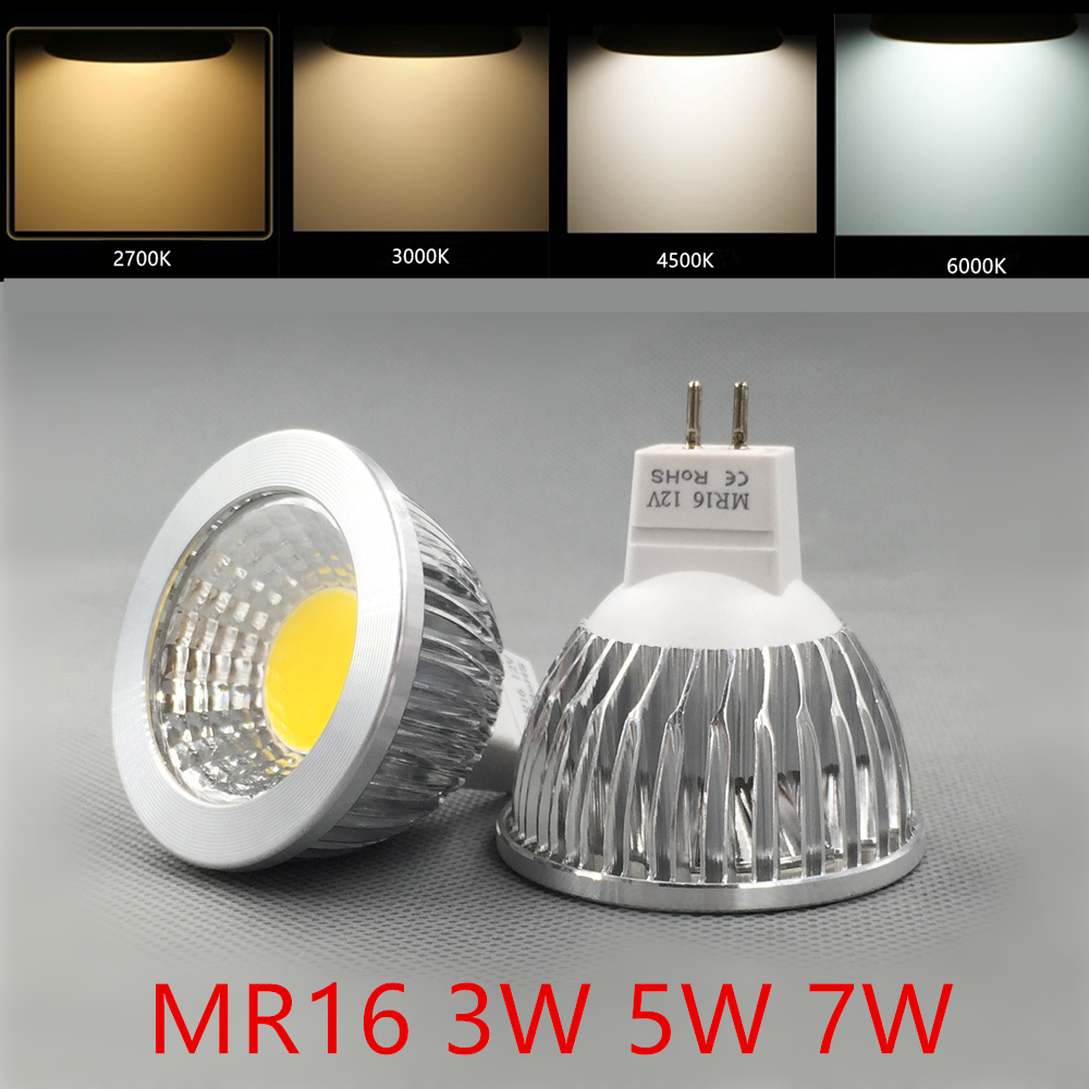 led bulb mr16 COB spotlight 3w 5W 7W spot lamp 12v mr16 spot angle for living room bedroom table lamp 5w mr16 soft white cob spot bulb narrow flood led lamp 3000k 500lm 12v
