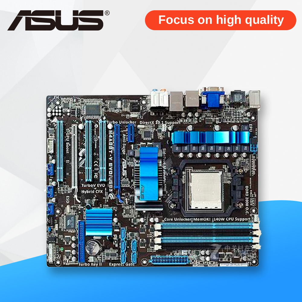 Asus M4A88T-V EVO USB3 Desktop Motherboard 880G Socket AM3 DDR3 SATA II USB2.0 ATX asus m4a88td v evo original used desktop motherboard 880g socket am3 ddr3 sata3 usb2 0 atx