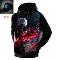 Tokyo ghoul 3D men women pullover hoodies plus size autumn winter inner fleece anime hip hop hooded warm jacket coat tracksuits