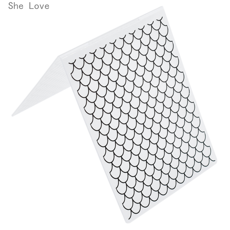 She Love Fish Scales Plastic Template Embossing Folder For