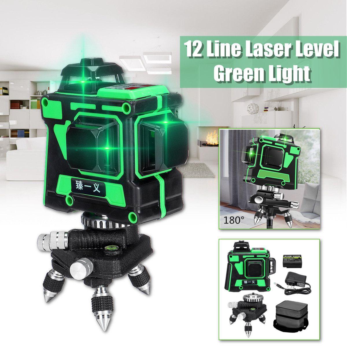 3D 12 Linhas Níveis Laser 360 Auto Nivelamento Horizontal e Vertical Ajustável Cruz Feixe de Laser Verde À Prova D' Água Equipamentos De Medição