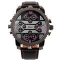 Oulm Mens Cara Grande Relógios Zona 4 Tempo Casual Pulseira de Couro de Quartzo de Japão Movimento Relógio de Pulso Relógio de Luxo
