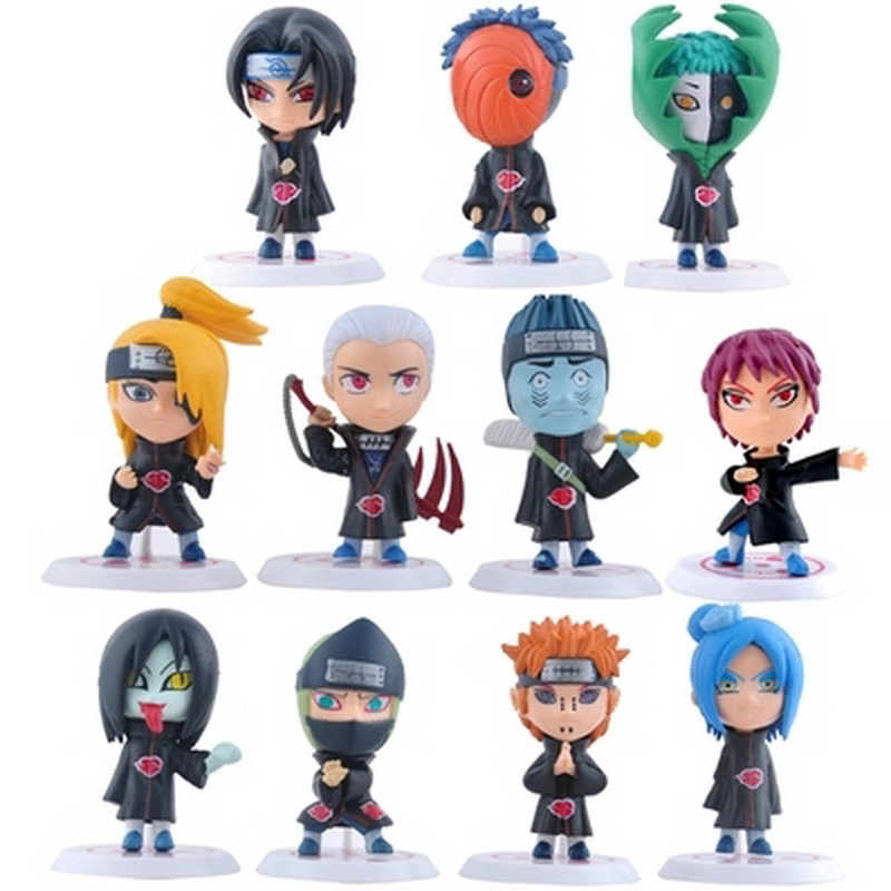 2018 New Hot 11pcs/set Children Dolls Japanese Anime Naruto Akatsuki 2.6'' Figure Toys Model Action Figure Birthday Gifts