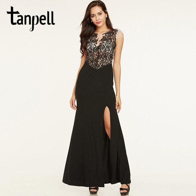 d77d530f77 Tanpell dentelle longue robe de soirée noir encolure dégagée gaine longueur  de plancher robe femmes split