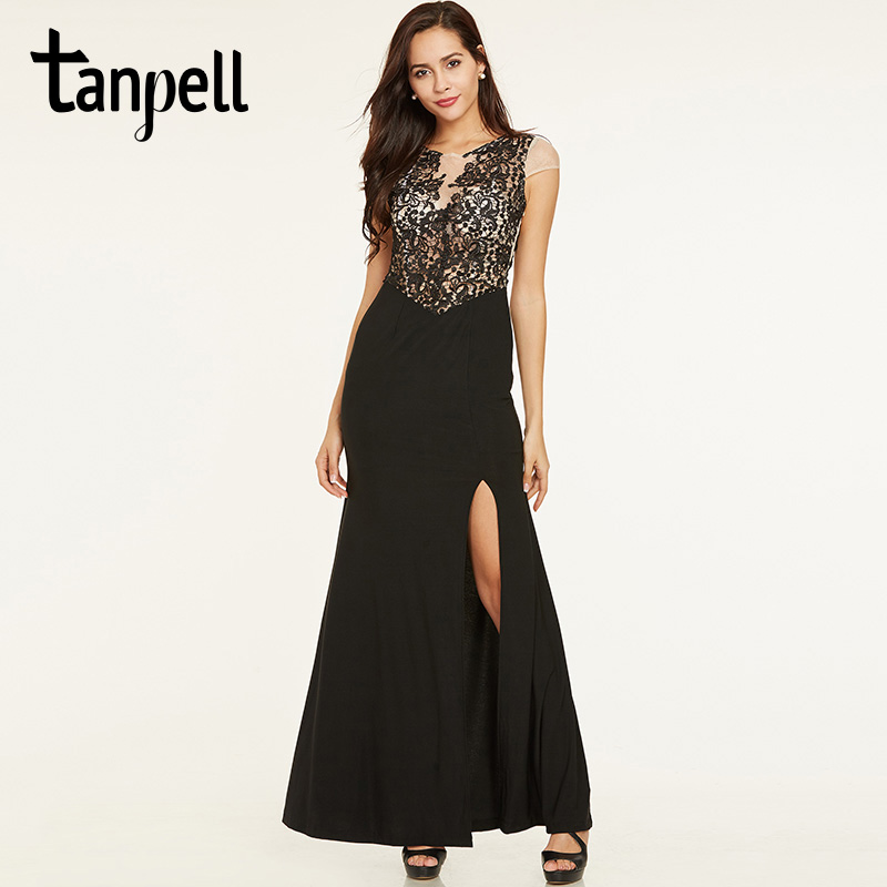 Tanpell lace long evening dress black scoop neck sheath floor length ...