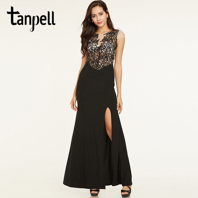 9257414206 US $41.39 43% OFF|Tanpell lace long evening dress black scoop neck sheath  floor length gown women split front cap sleeves formal evening dresses-in  ...