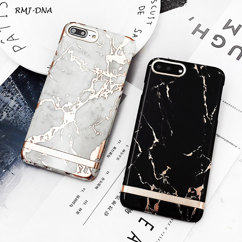 premium selection ba2b1 a01a3 US $3.99 |RMJ DNA Black white Marble pattern Phone Case For iPhone 8 7 6 6s  Plus More PC Hard Back Cover Cases For iPhone X plastic Coke-in Fitted ...