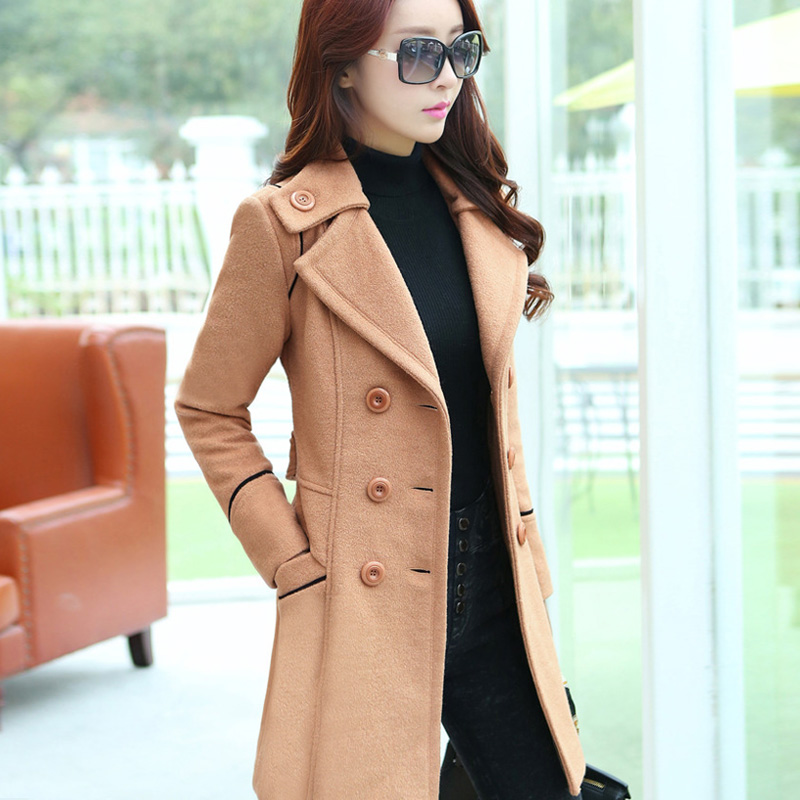 2015 double breasted trench coat for women wool female overcoat ...