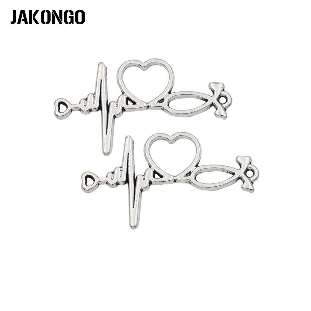 JAKONGO Silver Gold Color Heart Electrocardiogra Connector