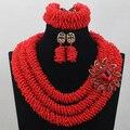 Increíble Perlas Nupcial Joyería de la India de Semillas de Color Rojo para Las Mujeres de La Boda Nigeriano Perlas Africanas WD721 Jewlery Set Envío Libre Caliente
