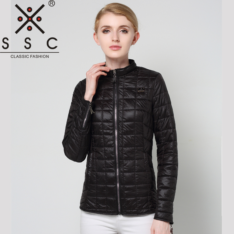 Spring and Autumn Lattice Female Parka Solid Color Stand Collar Short Women Jacket Coat  ...