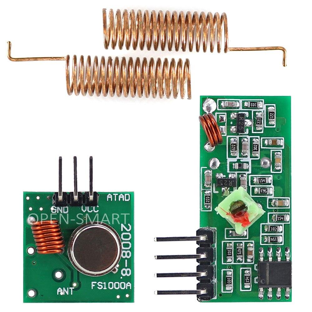 433 mhz rf módulo receptor sem fio & 433 mhz transmissor módulo kit para arduino + 2 pcs rf 433 m hz mola antena
