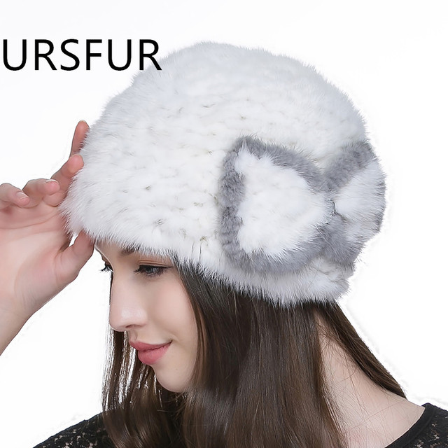 URSFUR Women's Knit Mink Fur Beanie Hat With Butterfly Multiple Color Winter Skull Cap with Fur Bow-knot Flower