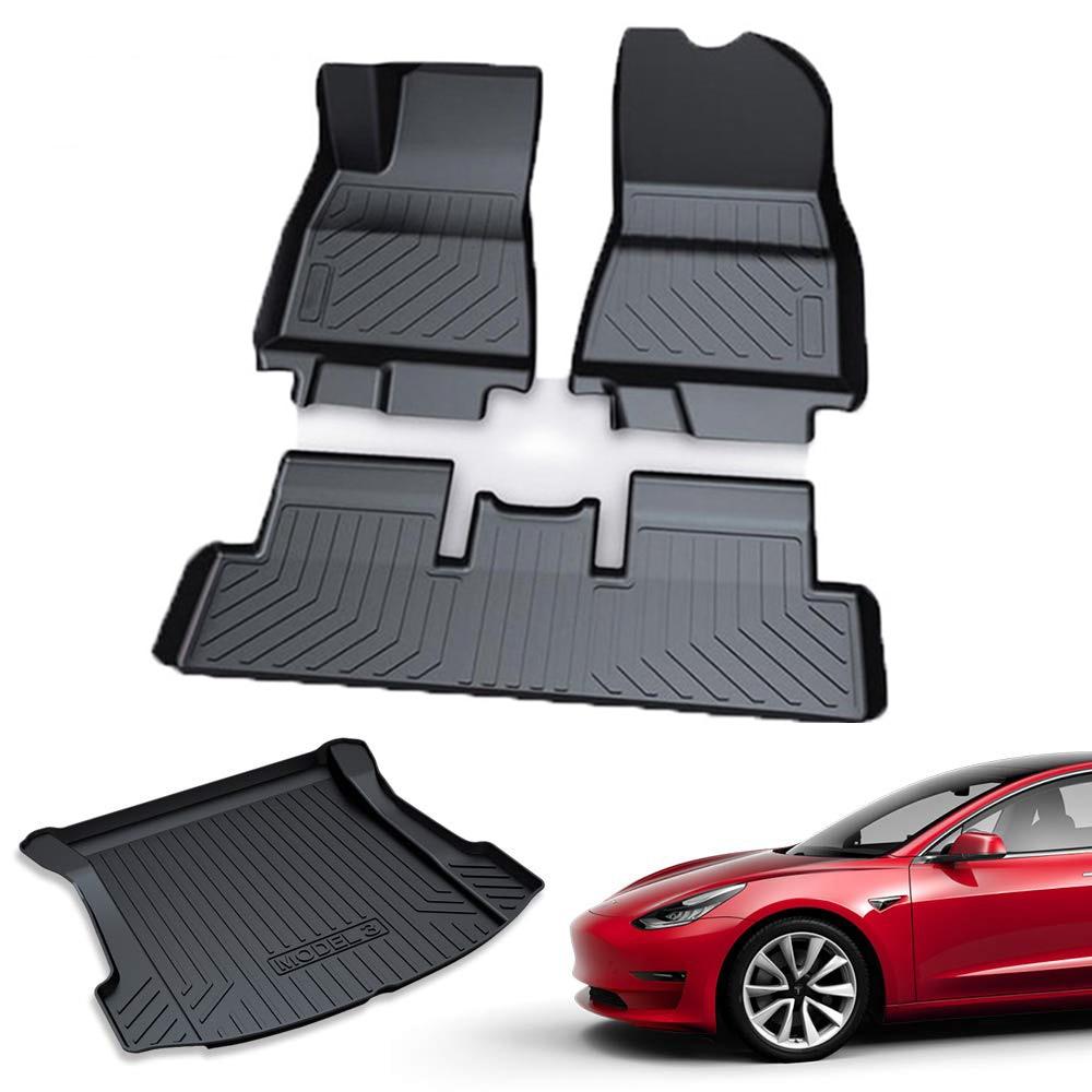 Tesla Model 3 Floor Mats Set All Weather Passenger and Back Seat Mat Driver 2017-2019 Nonslip Heavy Duty Rubber