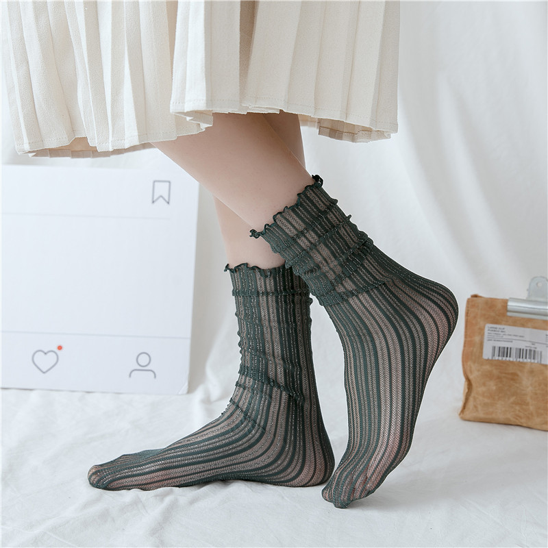 SP CITY 8 Colors Summer Thin Women Vintage Striped Ankle Socks Short Shiny Art Ladies Fold Hollow Out Fashion Female Roll Sox in Socks from Underwear Sleepwears