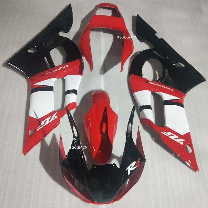 Kit de carénage de carrosserie pour moules d'injection ABS pour YAMAHA YZF-R6 1998-2002 rouge et noir YZF-R6 98 99 00 01 02 chaud, ventes
