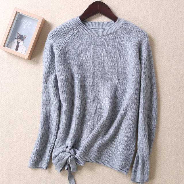 Women Winter Cashmere Beading O-Neck Sweater Knitted Shirt Tops Long Sleeves Loose Fashion Sweater Pullover Lace-up wool sweater