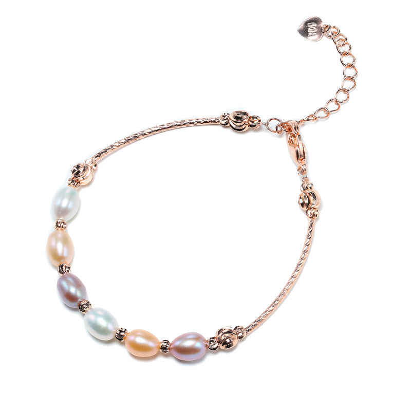 DMBFP300 5-6MM Rice Pearl Bracelet Natural Pearl Multi Color Bracelet For Women