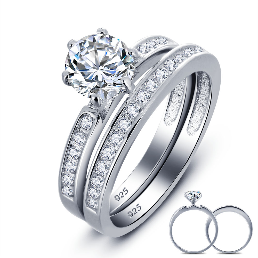 Wholesale 1 Ct Round Created Solid 925 Sterling Silver 2 Pc Bridal