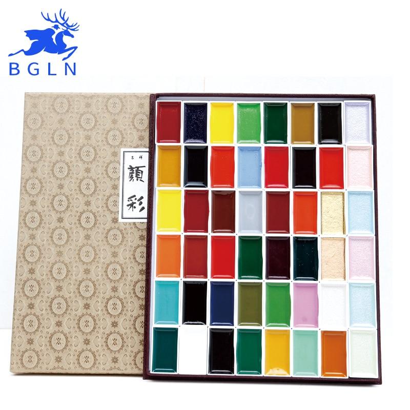 Super Quality Japan Auspicious 12/18/24/35/48/60 Water Color Pigment Set Professional Sumi-e Watercolor Paint Art Supplies