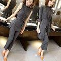 Primavera y Otoño moda temperamento Delgado tejer ocio femenino traje (chaqueta + pantalones + T-shirt de tres piezas)