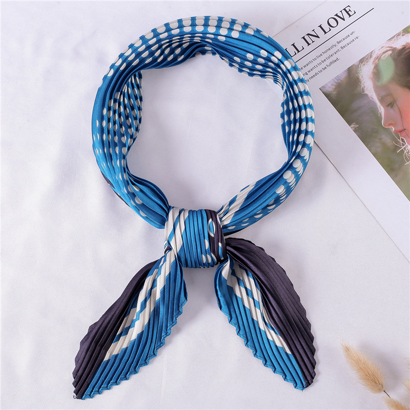 Women 39 s Small Silk Square Scarf Crinkle Dot Hair Scarfs for Ladies Pleated Scarves Printed Female Bandana Neckerchief 100 30CM in Women 39 s Scarves from Apparel Accessories
