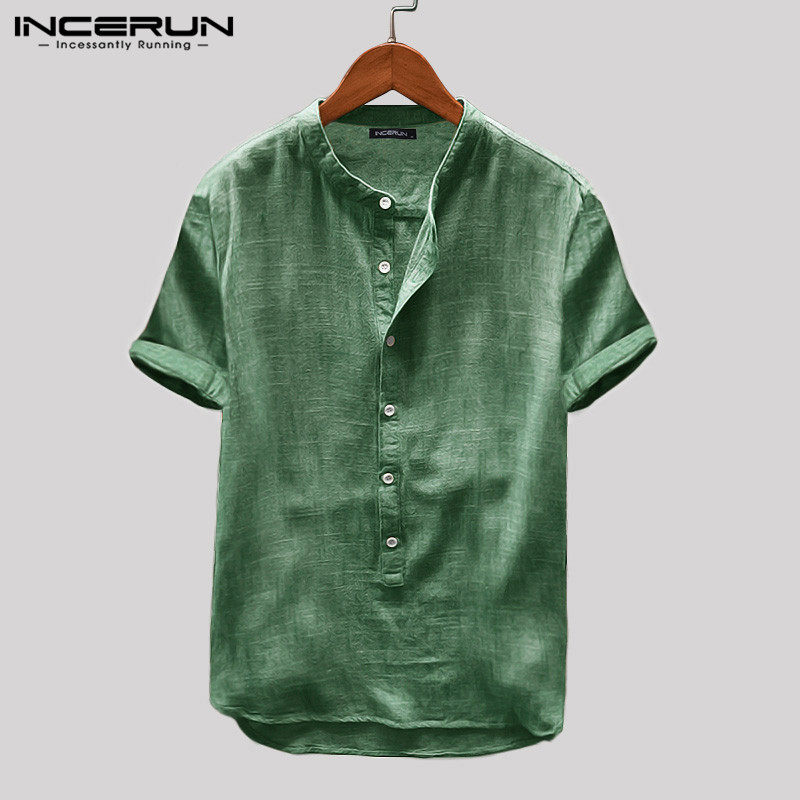 INCERUN Men Solid Color Summer Short Sleeve Button Stand Collar Shirt Breathable Casual Small Fresh 2019 Camisa Masculina S-5XL