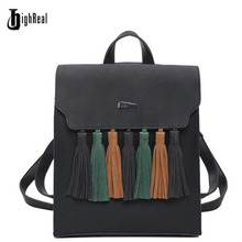 Highreal Мода кисточкой хит цвет квадратный девочек рюкзак скраб искусственная кожа женщины рюкзак мода школьные сумки J34