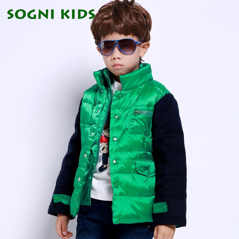 SOGNI KIDS Children Clothing For Boys Winter Coat 90 White Duck Down Jacket Single breasted