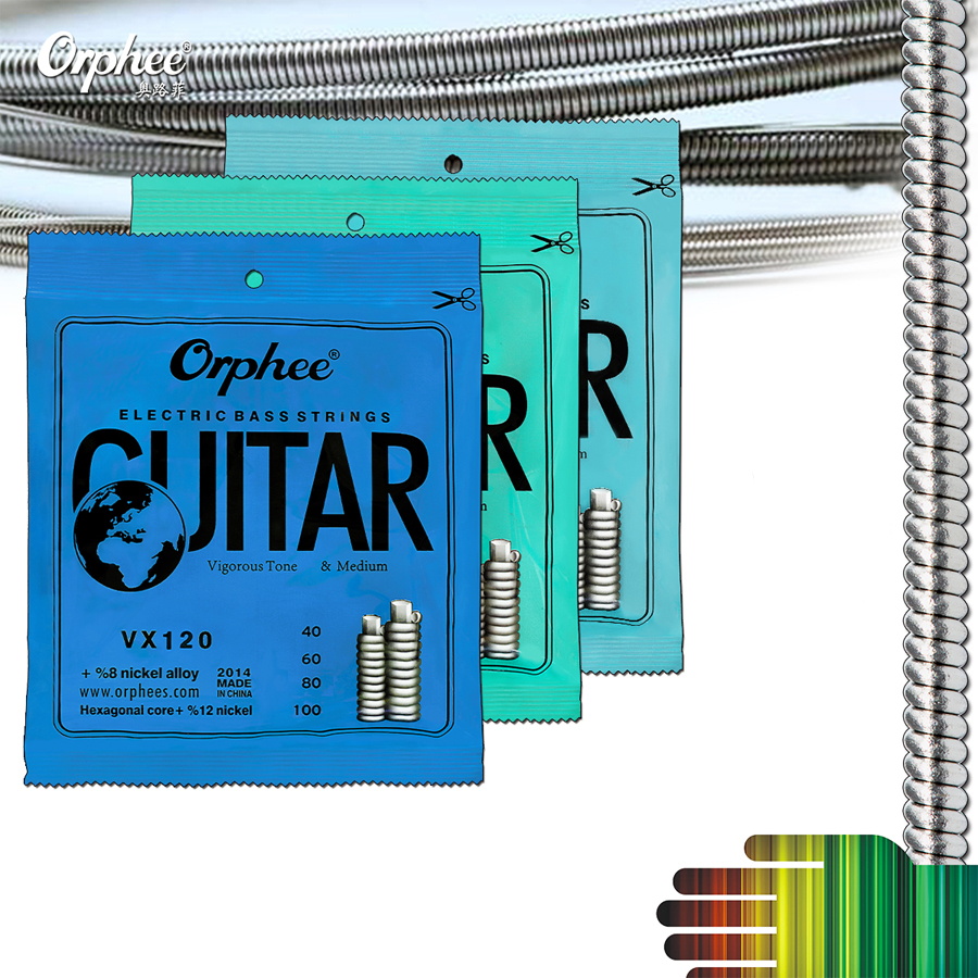 Strong Durability Orphee Electric Bass Strings Hexagonal Steel Nickel Alloy Wire Bass Strings rotosound rs66lc bass strings stainless steel