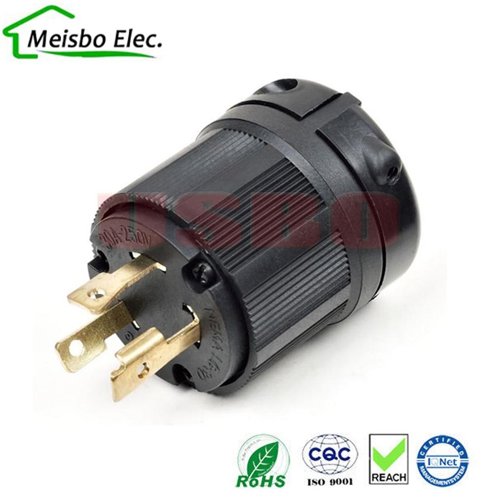 Amérique 250 V 30A 3 pôle NEMA L6-30P nous Anti-off l'industrie puissance convertisseur plug inline fil connecteur
