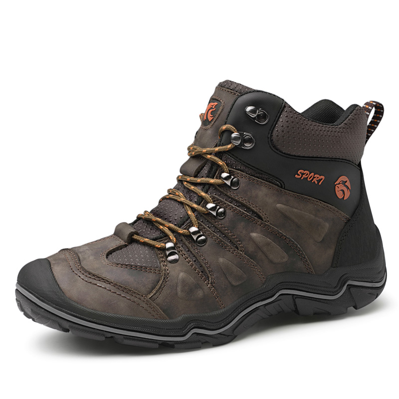 ธรรมชาติหนังผู้ชายรองเท้ากันน้ำกลางแจ้ง Anti   Slip ยางข้อเท้ารองเท้าฤดูใบไม้ร่วง Retro สไตล์รองเท้าปีนเขารองเท้าผู้ชาย-ใน รองเท้าบูทแบบเบสิก จาก รองเท้า บน   2