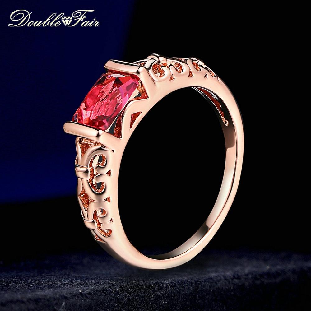 Двойной ярмарка бренд Уникальный красный кристалл Кольца розовое золото Цвет/серебро тон Мода ретро Обручение кольцо украшения для Для женщин dfr368