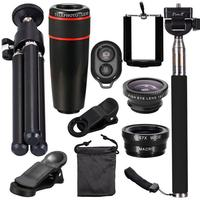 10 in 1 Camera Lens Kit Fish eye Groothoek Macro Lenzen 8x Zoom Tele Lentes Statief Clips Selfie Flash Voor Mobiele Telefoon