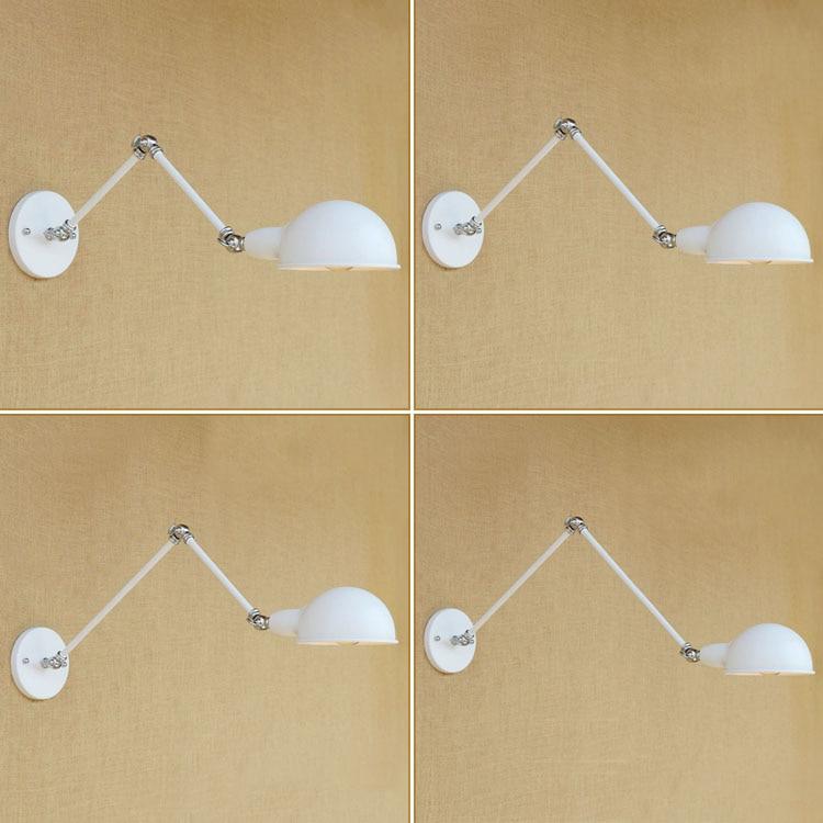 Bílé dlouhé rameno nástěnné svítidlo Vintage Edison Wandlamp Retro Loftová průmyslová nástěnná svítidla Sconce Arandela Lampara Pared