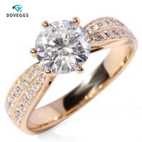 DovEggs 14K white Gold 1.2 Carat 7mm Interchangeable F Color moissanite stone ring Diamond Wedding Band for charms jewellry