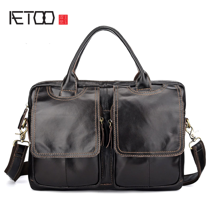 AETOO Men's Handbags Europe And America Cross Section Men's Bag Briefcase Leather Men's Messenger Bag Shoulder Bag