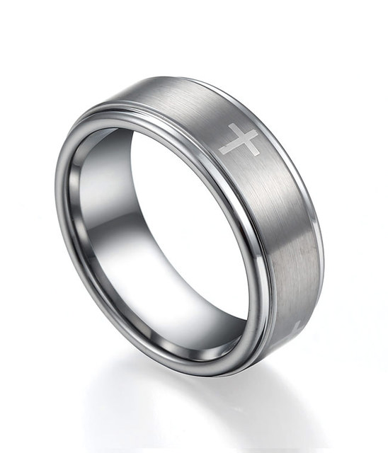 Unique SHARDON Men's Edged Tungsten Wedding Band With Brushed Cross  KF29