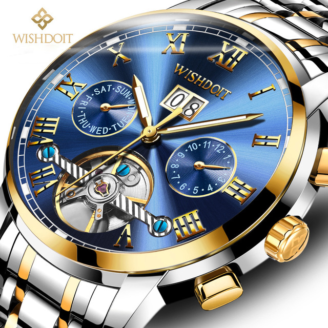 цена 2018 WISHDOIT Mechanical Watches Mens Skeleton Tourbillon Automatic Watch Men Gold Steel Calendar Waterproof Relojes Hombre онлайн в 2017 году
