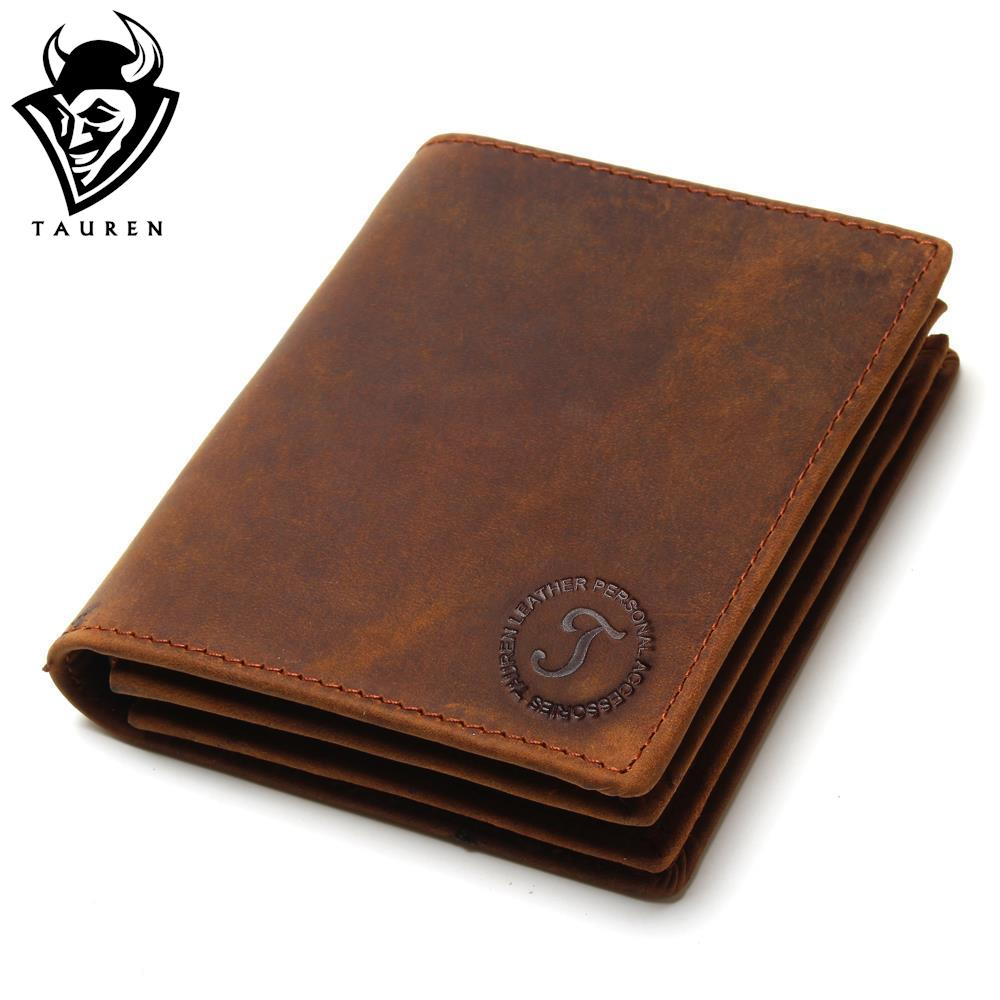 2017 Vintage Crazy Horse Handmade Leather Men Wallets